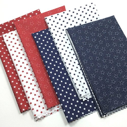 Blue Fq Quilting Fabric - Patriotic Fat Quarter Bundle 6 Cotton Fabrics Red White Blue 18x21-Inches