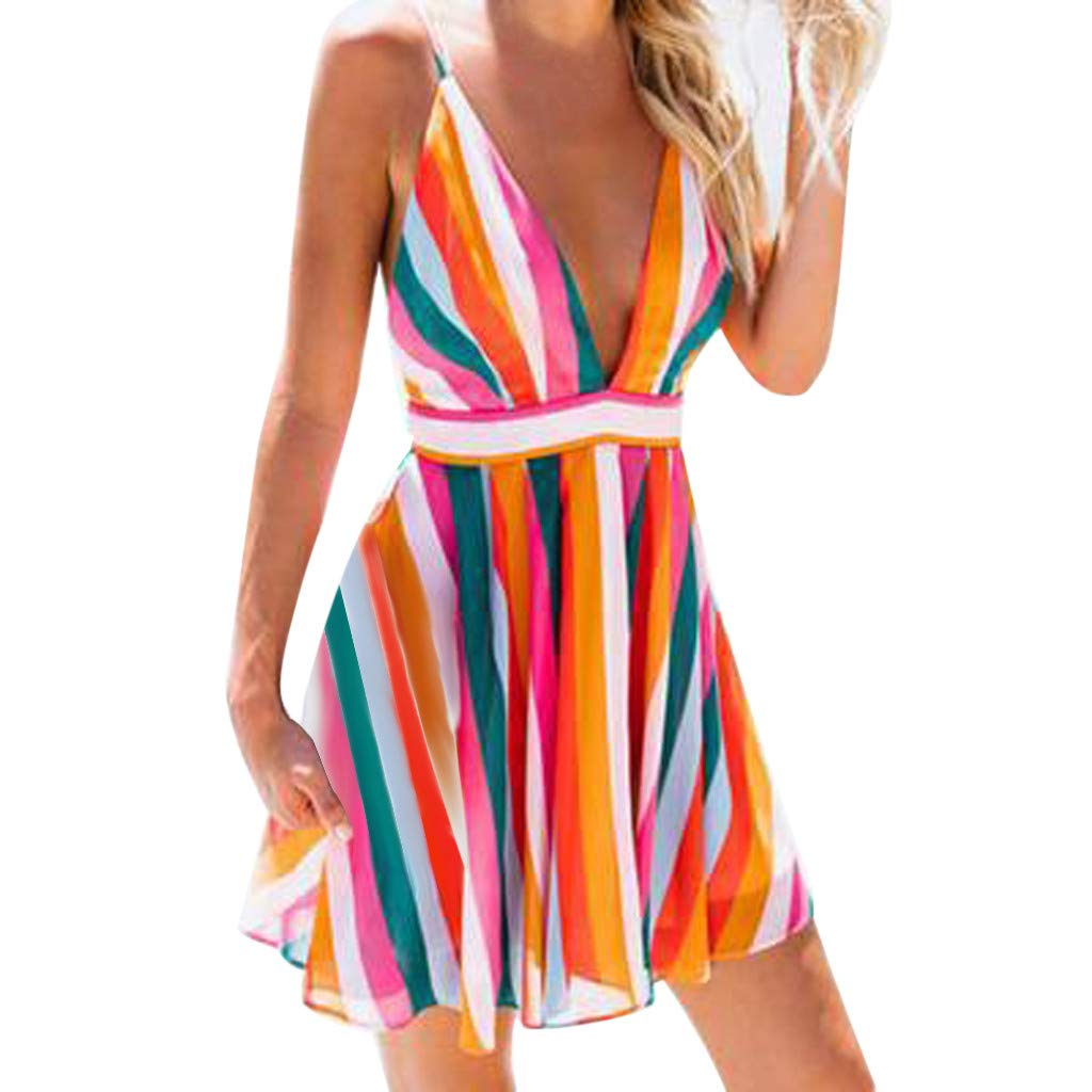 LONGDAY Women Summer Dress Spaghetti Strap Mini Dress Sexy V-Neck Stripes Dress Rainbow Camisole Tank Top Swing Skirt