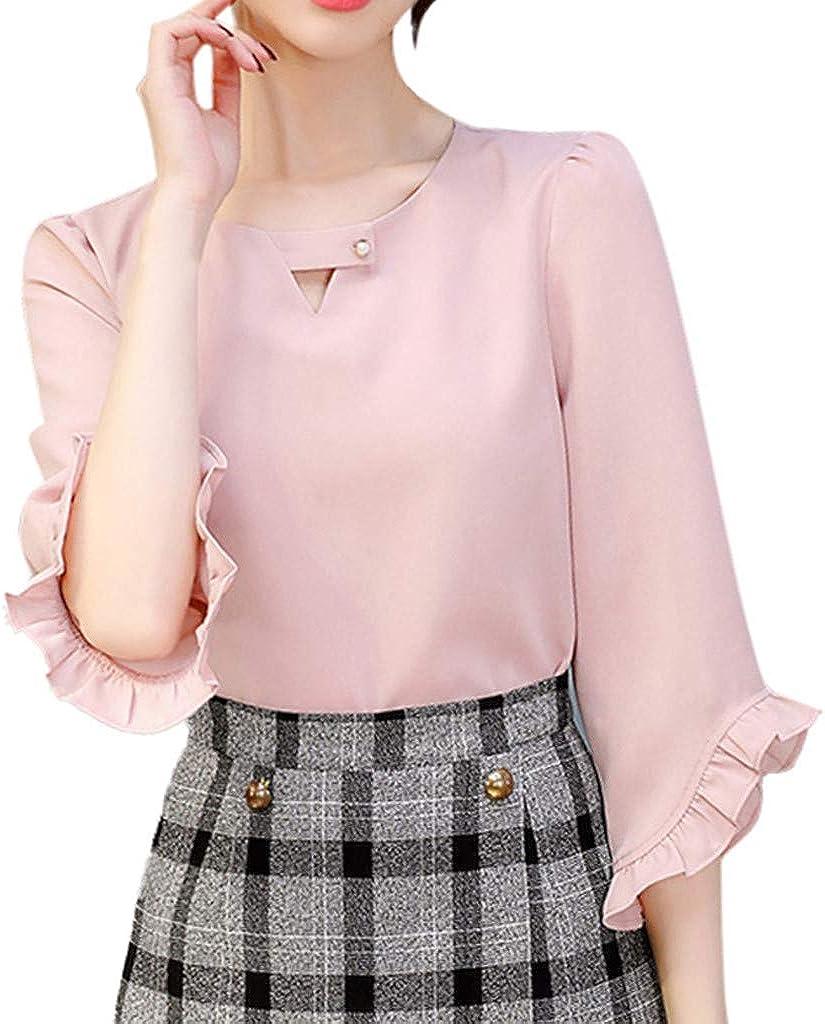 Auifor Mujer Oficina de Trabajo de Verano V Cuello con Volantes Manga Blusa de Gasa sólida Top: Amazon.es: Ropa y accesorios