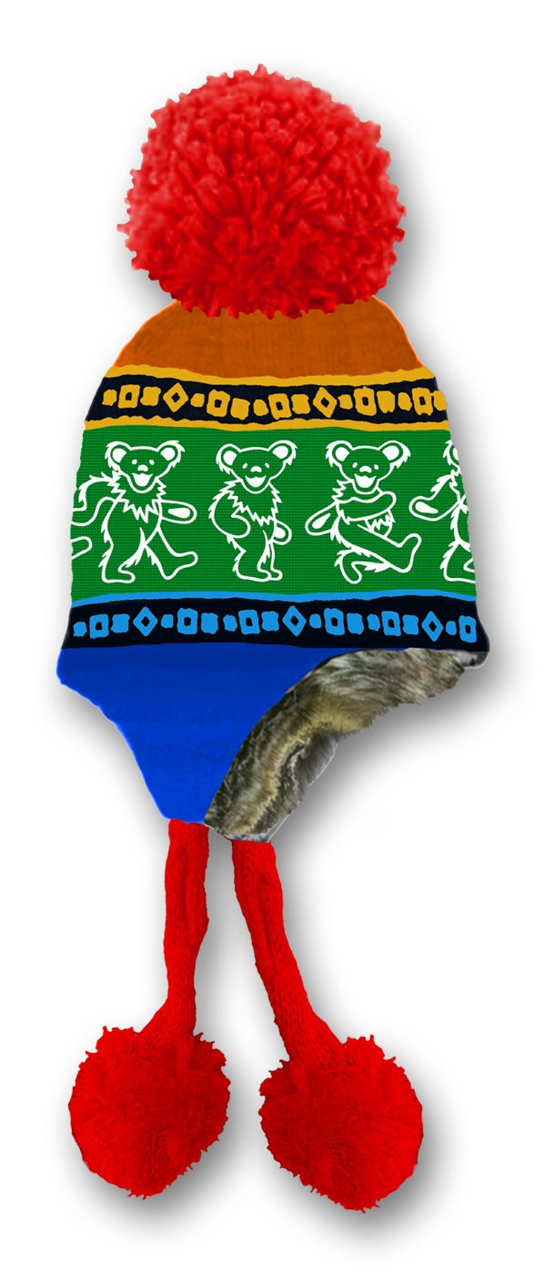 Grateful Dead Knit Ski Hat with Ear Flaps Faux Fur Lining and Pom Pom - 4 Designs Grateful Dead Productions GD1104