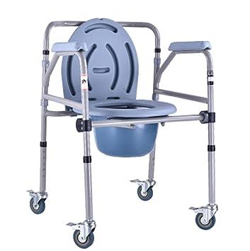 Silla de ducha con ruedas y asiento de inodoro acolchado, silla de transporte para ducha, silla de ducha, inodoro: Amazon.es: Salud y cuidado personal