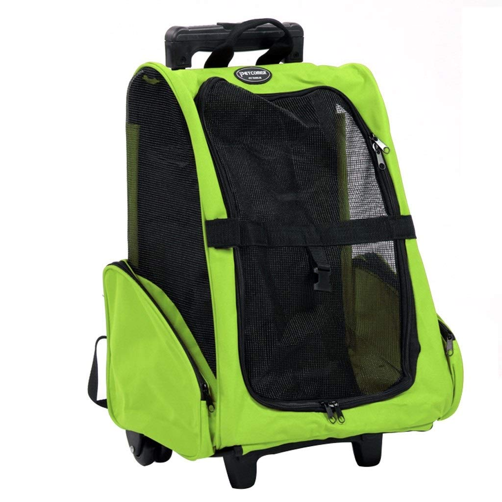 Green GLJJQMY Pet Backpack With Integrated Lever And Telescopic Handle   42x26x46 Cm Multi-color Optional Pet car seat (color   Green)