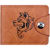 squarexMen Bifold Business Leather Wallet ID Credit Card Holder Purse Pockets (Wolf)