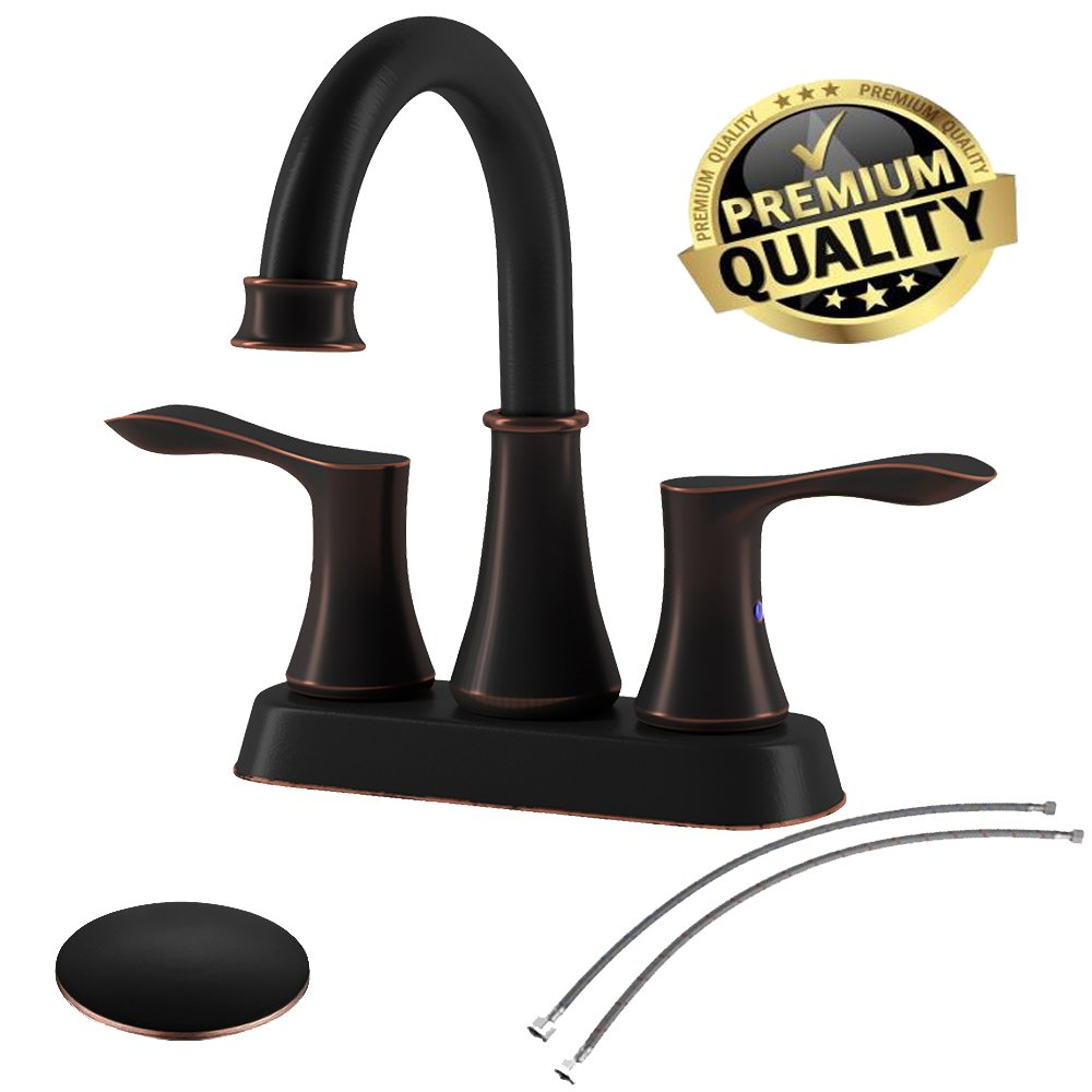 Home Intuition 2-Handle Bathroom Sink Faucet Oil Rubbed Bronze with Drain Assembly and Lead-free cUPC Supply Hose