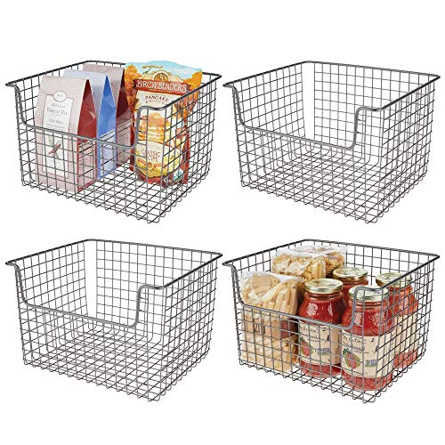 - mDesign Metal Kitchen Pantry Food Storage Organizer Basket - Farmhouse Grid Design with Open Front for Cabinets, Cupboards, Shelves - Holds Potatoes, Onions, Fruit - 12