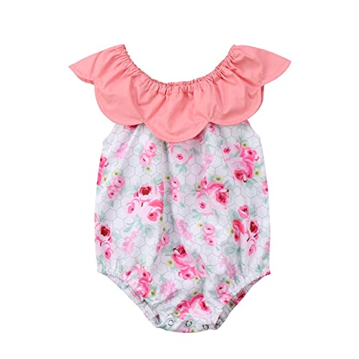 1cbb254a75e SoftWolf One-Piece Newborn Baby Girls Cotton Floral Collar Clothes