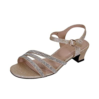 c07cba7dfcec Floral Jenna Women Extra Wide Width Glittery Rhinestone Upper Straps Party  Heeled Slingback Sandals Champagne 5