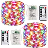 2 Pack LED Fairy Lights Battery Operated String Lights Waterproof 8 Modes 100 LED 33ft Fairy String Lights with Remote and Timer Firefly Lights Christmas Decor Bedroom Party Wedding Lights Multi Col