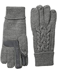 Women's Solid Triple Cable Knit smarTouch Gloves