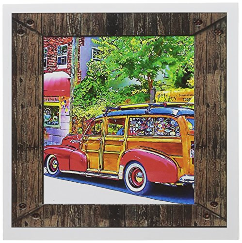 3dRose Woody Classic Surfing Car, Greeting Cards, Set of 6 - Invitation Woody