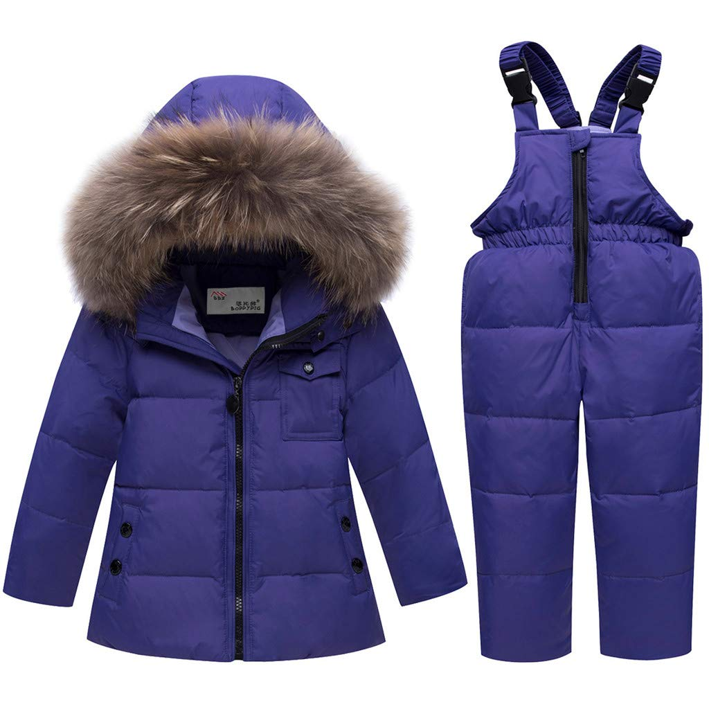 d01799bdacf6 Kids Winter Puffer Jacket and Snow Pants 2-Piece Snowsuit Skisuit ...