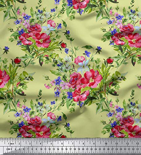 Soimoi 60 Inches Wide Decorative 2-Way Stretch Velvet Fabric for Sewing Floral Print Material by The Yard - Pale Yellow ()