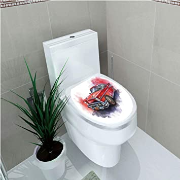 Fabulous Amazon Com Toilet Cover Sticker Watercolor Hand Drawn Pabps2019 Chair Design Images Pabps2019Com