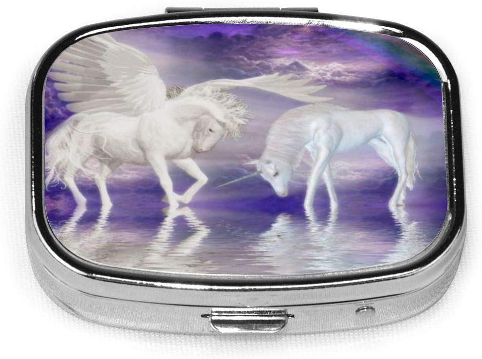 Unicornios Caballo Nube Arco Iris Pill Case 2 Compartimentos Estuche Portátil de Viaje Cuadrado Pill Box Organizador para Bolsillo Monedero Necesidades Diarias