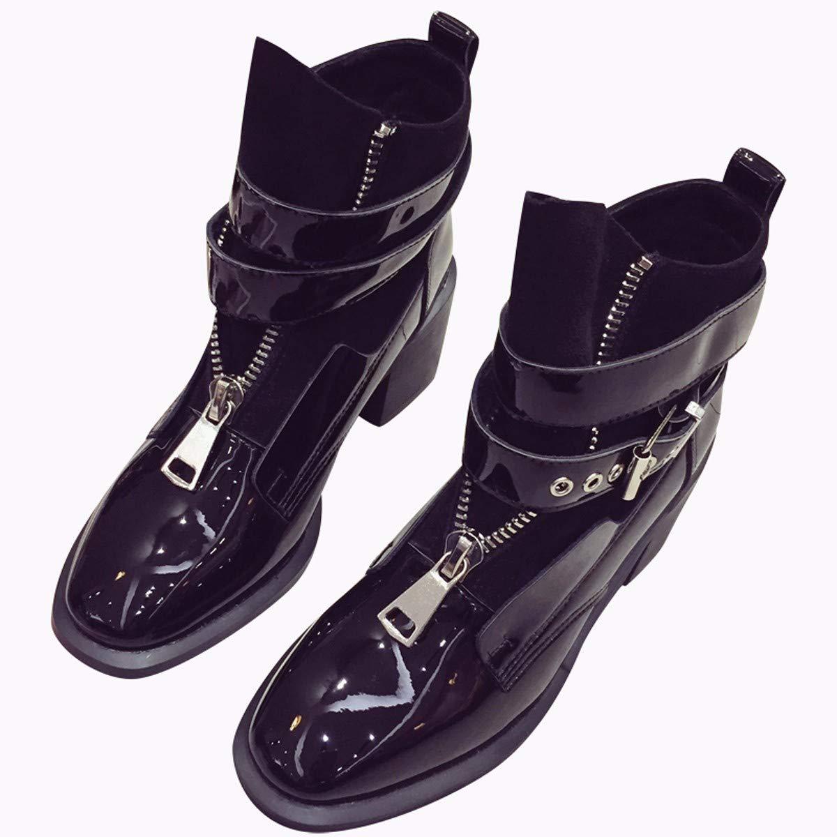 AJUNR Modische Arbeit Damenschuhe Mode Kurze Stiefel mit hohen 6 cm wild Lack scharfe Spitze reißverschluss gürtel ma dingxue