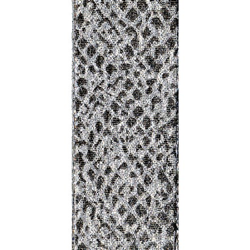 Offray Jeweled Snake Animal Print Craft Ribbon, 1-1/2-Inch Wide by 25-Yard Spool, Metallic Silver