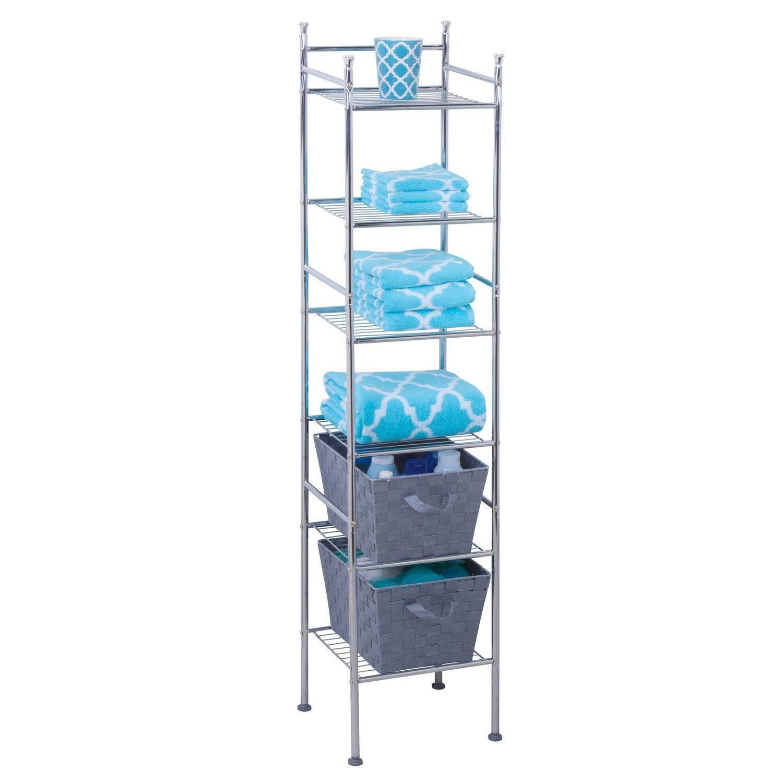 Honey-Can-Do BTH-03484 6 Tier Metal Tower Bathroom Shelf, 12.6''L x 11''W x 60''H, Chrome by Honey-Can-Do