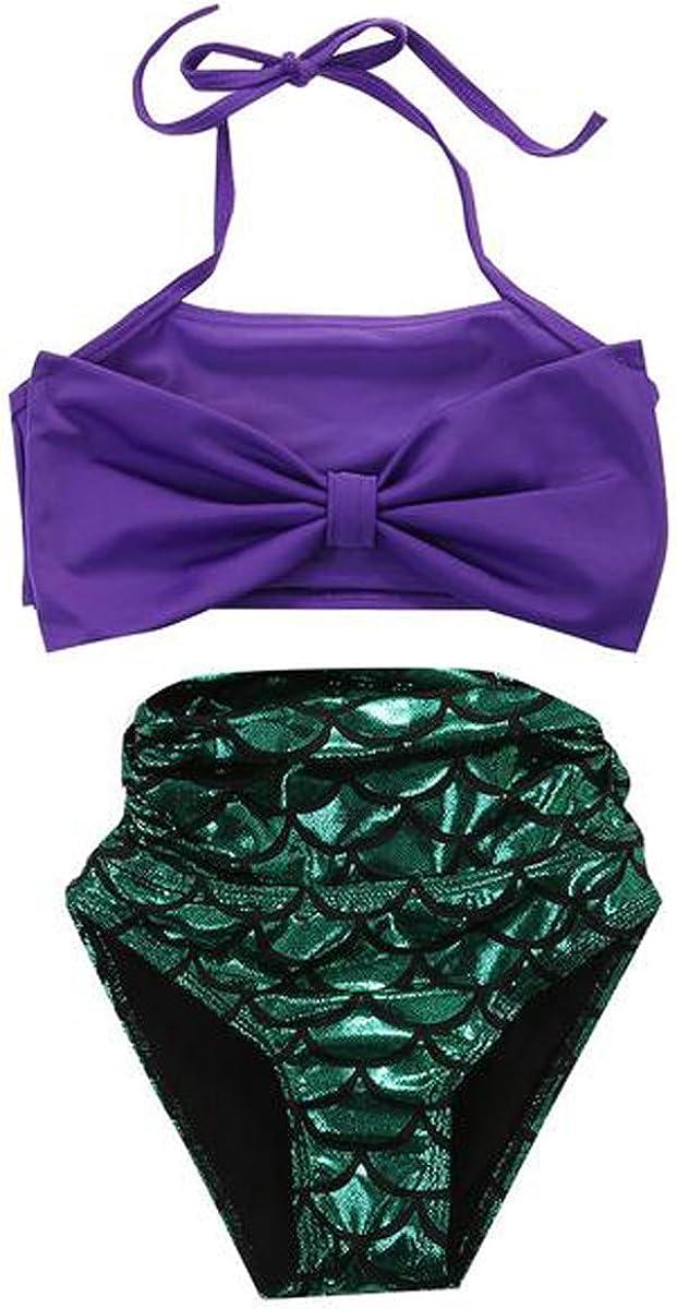 Jastore Kids Girls 2 Pcs Princess Mermaid Swimwear Bow-Knot Bikini Set Swimsuit