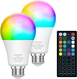Color Changing Light Bulb, RGB LED Light Bulbs Dimmable with Remote, 900LM 9W RGBW Light Bulb - 20 Color 6 Modes A19 E26 Colored LED Bulb for Bedroom, Home Decor, Party (2 Pack)