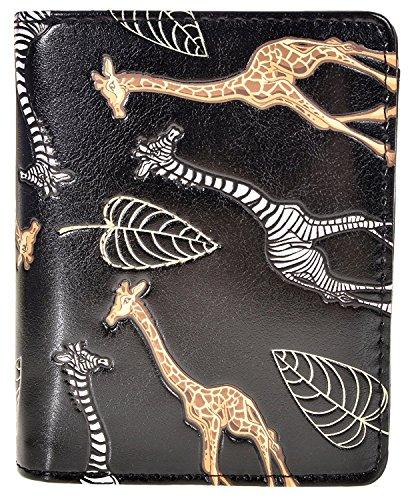 Shag Wear Women's Animal Design Small Zipper Wallet Giraffe Love Black