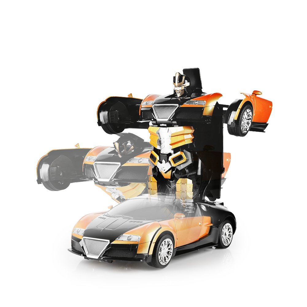 SainSmart Jr. Transformation Car Toy Bugatti Car Robot for Kids, RC Car One Button Transforms into Robot, Remote Control Transforming Robot (Orange) by SainSmart Jr. (Image #3)