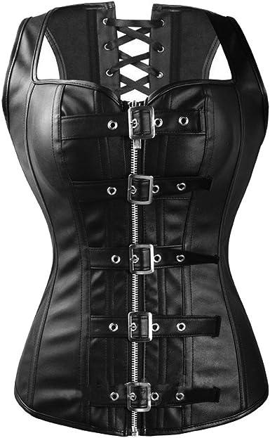 Kelvry Womens Gothic Steampunk Steel Boned Overbust Basque Corset Shapewear Brown Plus Size