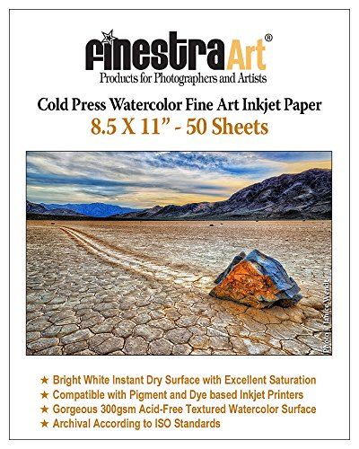 - 8.5 X 11 Cold Press Watercolor Fine Art Inkjet Paper 300gsm 50 Sheets