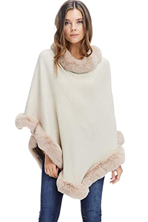 64df5c151 Womens Faux Fur Sweater Poncho - Cape Winter Luxe Trim Shawl (Ivory ...