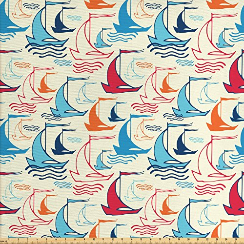 Lunarable Sail Boat Fabric by the Yard, Wave Lines with Doodle Style Ship Silhouettes Abstract Retro Wind Powered Travel, Decorative Fabric for Upholstery and Home Accents, Multicolor