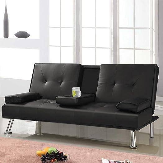 tinkertonk modern extra comfort 3 seater faux leather sofa bedblack