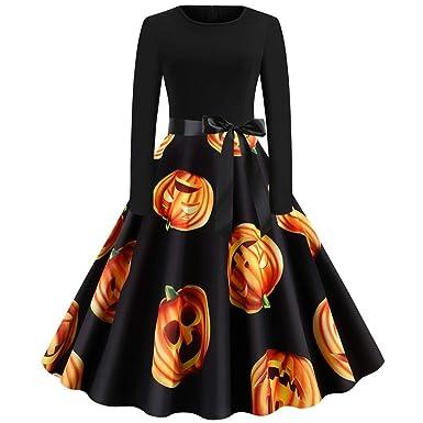 Amazon.com: Halloween Dresses Women Plus Size Long Sleeve ...
