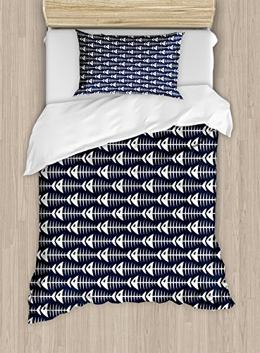Animal Twin Size Duvet Cover Set By Ambesonne  Fish Bone Skeleton Pattern With Spines Sea Underwater Theme Illustration  Decorative 2 Piece Bedding Set With 1 Pillow Sham  Petrol Blue White