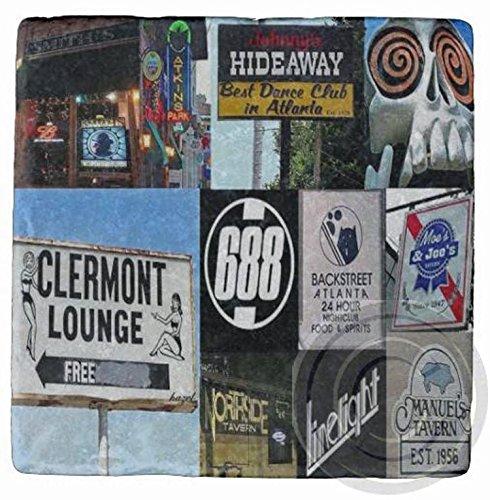 - Set of 4 Atlanta Bars Collage Marble Coasters.