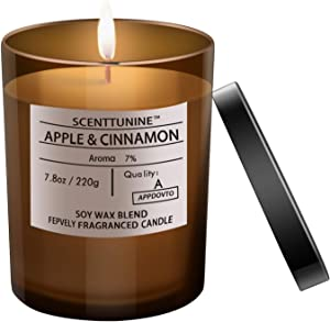 Scenttunine Scented Candle, Pure Natural Organic Soy Wax Candle Jar 40h Burn Time Aromatherapy Fall Candles for Home Scented Essential Gift Ideas - Apple&Cinnamon 7.8OZ