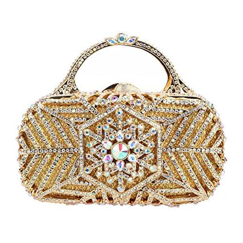 Handbag Donna Clutch Party Snowflake Borsa per Fawziya Handle Gold Metal frizione wpxBqnt1