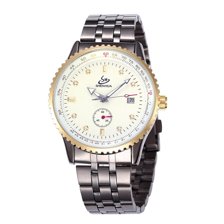 SHENHUAレトロ真鍮メンズスケルトン自動機械腕時計Burgundyバンド B06Y2VCX9S
