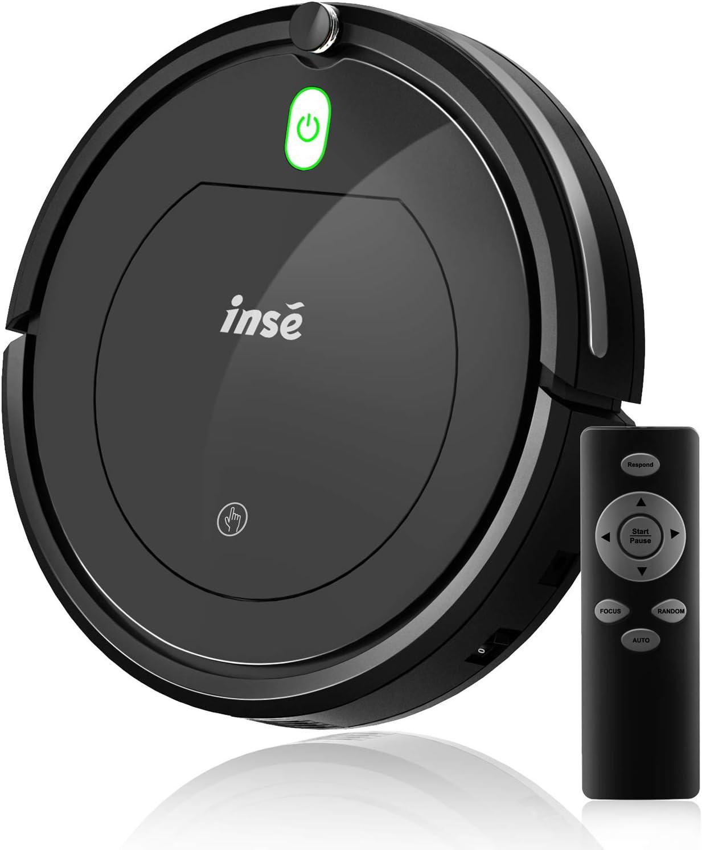 INSE Robot Aspirador con Mapeo para Suelos Duros y Alfombras, Superfino,Silencioso, Ideal para pelos de Mascotas, Control Remoto (Negro)