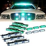 DT MOTO™ Green White 54x LED Emergency Vehicle Warning Deck Grille Dash Visor Lights - 1 set