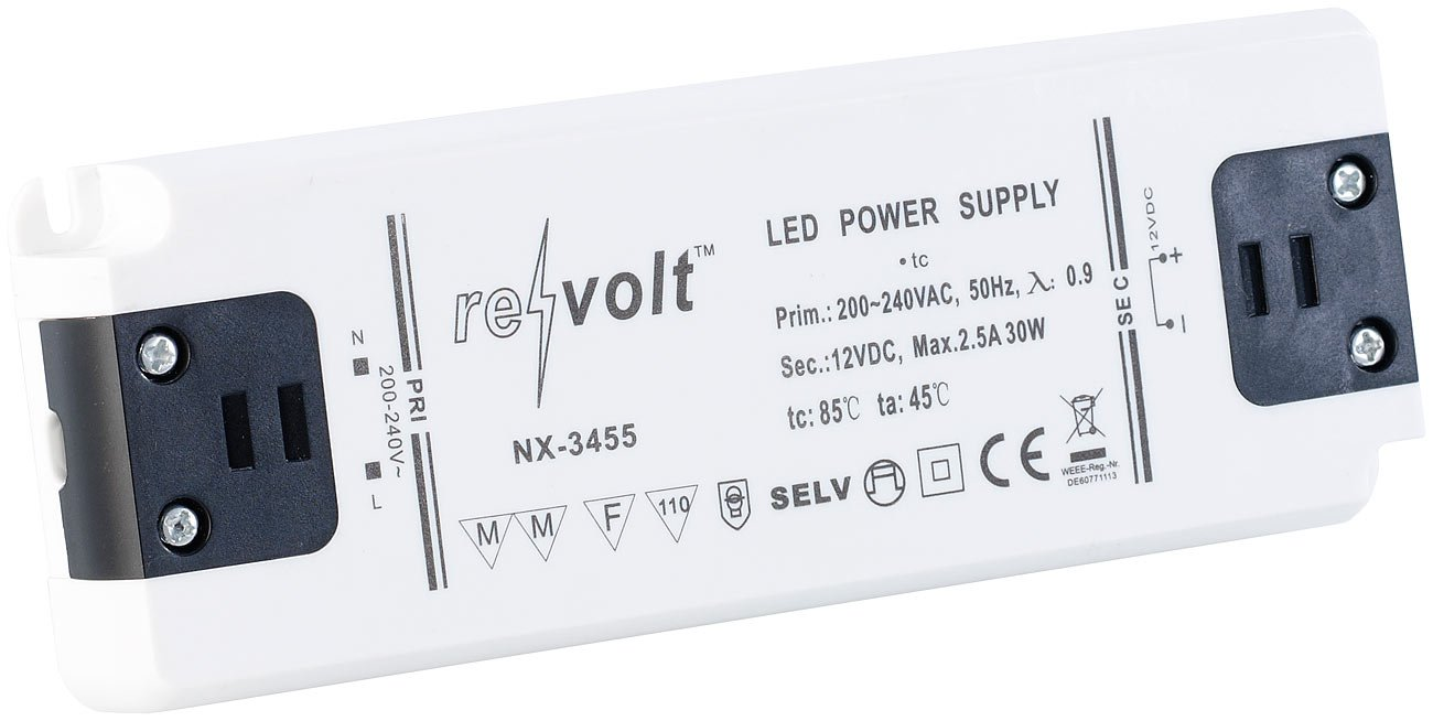 revolt Transformator: LED-Trafo, 230 V Input, 12 V Output, bis 30 W (LED Transformator)