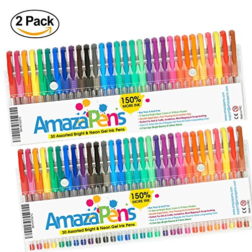 Gel Coloring Pens by AmazaPens - 150% More Ink than Other Sets 2 Packs of 30 Bold (Primary & Neon) Colors for Adult Coloring Books