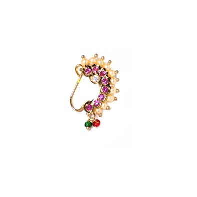 Buy Hayagi Nose Ring Gold Plated Lavani Nath Gold Plated Non