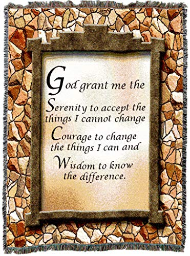 Pure Country Weavers | God Grant Me The Serenity Prayer Woven Tapestry Throw Blanket with Fringe Cotton USA 54x69