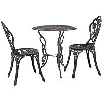 vidaXL 3 Piece Bistro Set Outdoor Patio Balcony Table Chair Furniture Cast Aluminium
