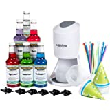 Hawaiian Shaved Ice Machine and Syrup 6 Flavor Party Package by | Includes S900 Shaved Ice Machine, 6 Ready-To-Use Pints of Syrup, 25 Snow Cone Cups, 25 Spoon Straws, & 6 Black Bottle Pourers