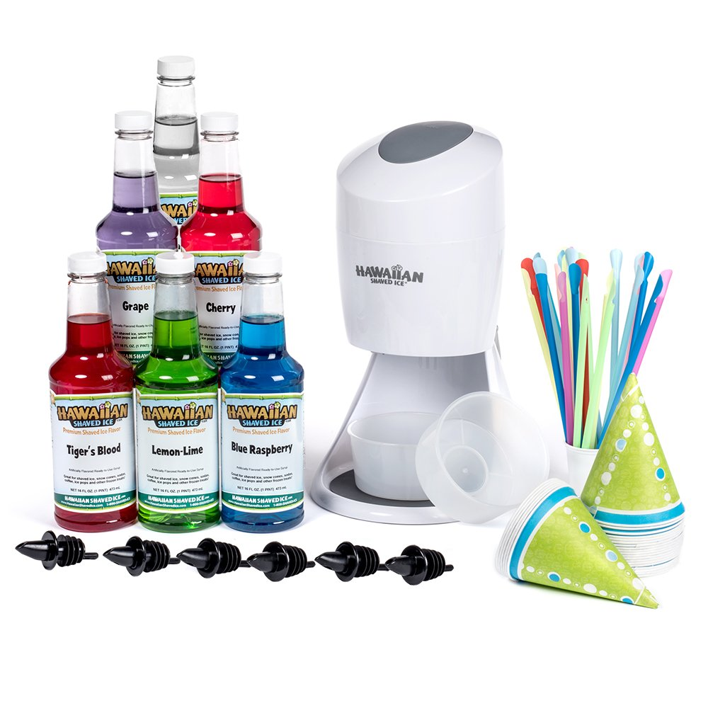 Hawaiian Shaved Ice Machine and Syrup 6 Flavor Party Package | Includes S900A Shaved Ice Machine, 6 Ready-To-Use Pints of Syrup, 25 Snow Cone Cups, 25 Spoon Straws, 6 Black Bottle Pourers