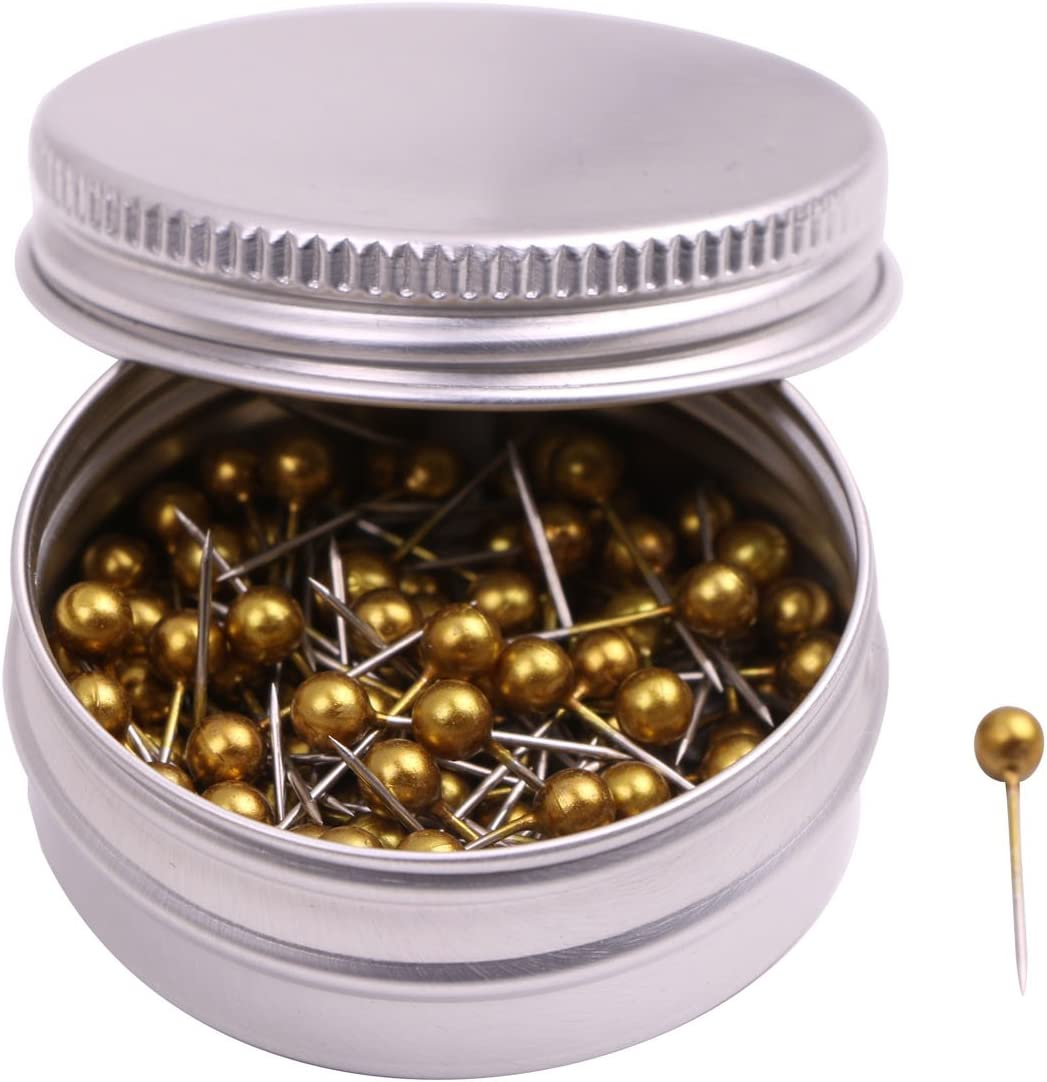 PTC Office 1/8 Inch Diameter Small Decorative Map Tacks Plastic Head Push Pins with Steel Point (Gold, 100PCS)