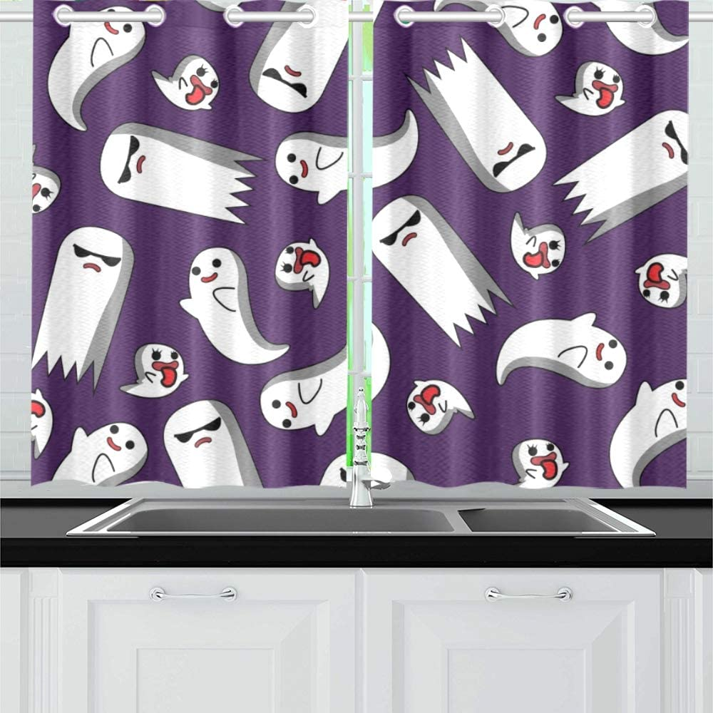 Amazon Com Yumoing Ghost Trick Kitchen Curtains Window Curtain Tiers For Café Bath Laundry Living Room Bedroom 26 X 39 Inch 2 Pieces Home Kitchen