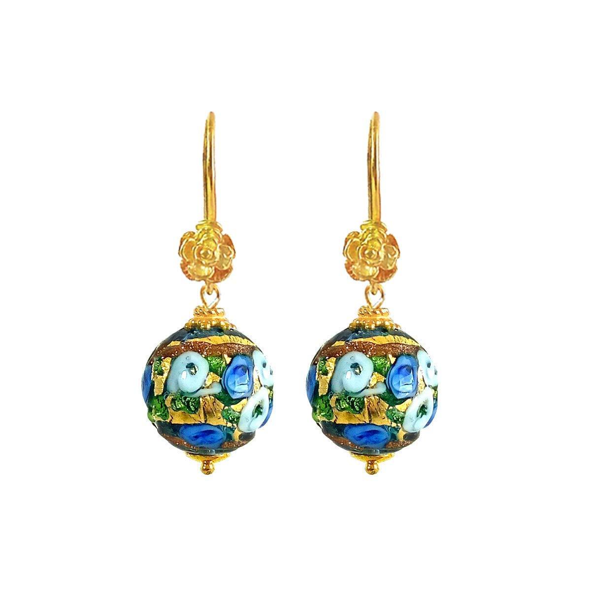 14K Rolled Rose Gold /& Vermeil Earrings Art Deco MURANO Blue /& Aventurine Glass