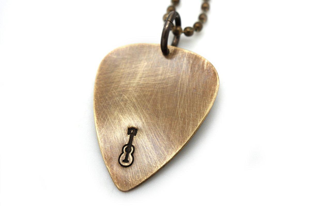 mens necklace guitar pick long necklace