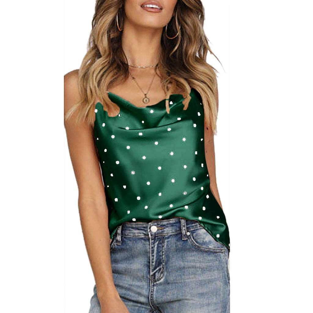 iYBUIA Women Polka Dot Satin Silk Tank Tops Sleeveless Summer Cami Camisole Vest Green